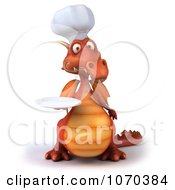 Clipart 3d Red Dragon Chef Holding A Plate 1 Royalty Free CGI Illustration