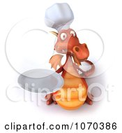 Clipart 3d Red Dragon Chef Holding A Plate 3 Royalty Free CGI Illustration