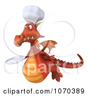 Clipart 3d Red Dragon Chef Holding A Plate 6 Royalty Free CGI Illustration