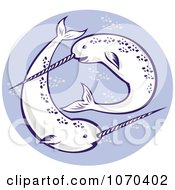 Clipart Swimming Narwhals Royalty Free Vector Illustration by patrimonio