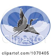 Clipart Black Crane Flying Over Trees And Clouds Royalty Free Vector Illustration by patrimonio
