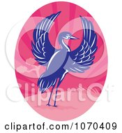 Clipart Blue Crane And Pink Landscape Royalty Free Vector Illustration by patrimonio
