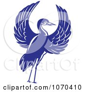 Clipart Blue Crane With Open Wings Royalty Free Vector Illustration by patrimonio