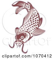 Clipart Red Carp Fish Logo Royalty Free Vector Illustration