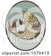 Clipart Jumping Koi Fish Logo Royalty Free Vector Illustration by patrimonio