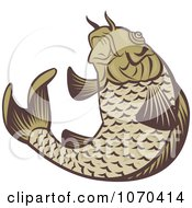 Clipart Jumping Carp Fish Logo Royalty Free Vector Illustration by patrimonio