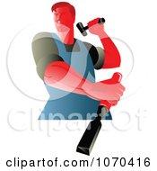 Clipart Carpenter Hammering A Chisel Royalty Free Vector Illustration