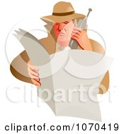 Clipart Detective Making A Phone Call Royalty Free Vector Illustration by patrimonio