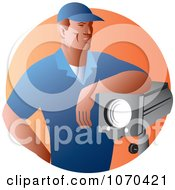 Clipart Lighting Crew Worker Royalty Free Vector Illustration by patrimonio