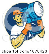 Clipart Lighting Crew Man Holding A Spot Light Royalty Free Vector Illustration by patrimonio