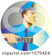 Clipart Security Man Shining A Flashlight Royalty Free Vector Illustration by patrimonio