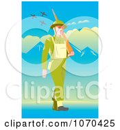 Clipart British Soldier Pacing Royalty Free Vector Illustration