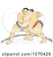 Clipart Two Sumo Wrestlers Engaged In A Match Royalty Free Illustration by patrimonio