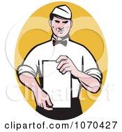 Clipart Waiter Presenting A Menu Royalty Free Vector Illustration