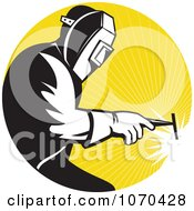 Clipart Welder Against Yellow Rays Royalty Free Vector Illustration