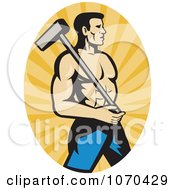 Strong Worker Holding A Hammer