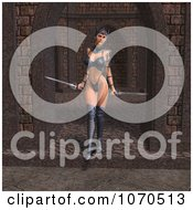 3d Sexy Warrior Princess In An Archway