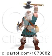 Clipart 3d Strong Medieval Warrior Holding Two Maces Royalty Free CGI Illustration