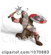 Clipart 3d Strong Medieval Warrior Fighting With A Shield And Club Royalty Free CGI Illustration
