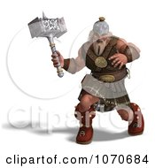 Clipart 3d Strong Medieval Warrior Holding A Hammer 2 Royalty Free CGI Illustration