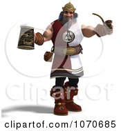 Clipart 3d Strong Medieval King Holding A Pipe And Pint Royalty Free CGI Illustration