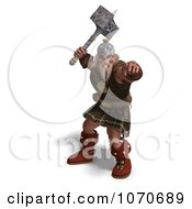 Clipart 3d Strong Medieval Warrior Holding A Hammer 3 Royalty Free CGI Illustration