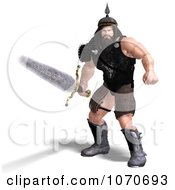 Clipart 3d Strong Medieval Warrior Man With A Sword 3 Royalty Free CGI Illustration