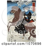Japanese Person Riding Sidesaddle On A Brown Horse Through The Snow Royatly Free Historical Stock Illustration by JVPD