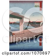 Azuma Bridge Kinryuuzan Temple And City Near Mt Fuji Japan Royatly Free Historical Stock Illustration by JVPD