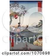 Women At An Outdoor Teahouse At Zoshigaya Near Mount Fuji Japan Royatly Free Historical Stock Illustration