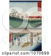 Boat Carrying Cargo Passing Under A Conduit On The Tea Water Canal Near Mt Fuji Tokyo Japan Royatly Free Historical Stock Illustration