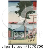 Mount Fuji From Across Yedo Bay From Rokusozan Kazusa Japan Royatly Free Historical Stock Illustration