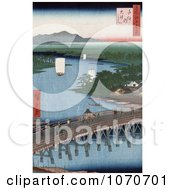 The Bridge Of Senju Crossing The Sumida River Japan Royatly Free Historical Stock Illustration by JVPD