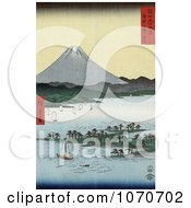 Sailboats And Pine Grove On Promontory Near Mt Fuji Suruga Bay Miho Japan Royatly Free Historical Stock Illustration by JVPD