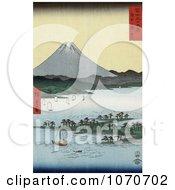 Sailboats And Pine Grove On Promontory Near Mt Fuji Suruga Bay Miho Japan Royatly Free Historical Stock Illustration by JVPD