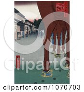 HorseS Legs With A View Of Shops Japan Royatly Free Historical Stock Illustration