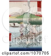 Herons Near Men With Rafts On The Sagami River With A View Of Mt Fuji Japan Royatly Free Historical Stock Illustration by JVPD