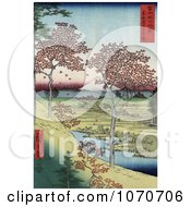 Red Leaved Maple Trees And A Stream On Sunset Hill Near Mt Fuji Meguro Tokyo Japan Royalty Free Historical Stock Illustration by JVPD