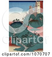 People Walking On A Path In A Steep Hilly Landscape Near A Naturral Bridge Tanba Japan Royatly Free Historical Stock Illustration by JVPD