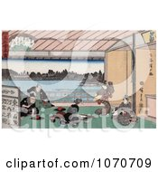 Geisha Women Entertaining Men In A Teahouse While Dancing And Playing Music Royatly Free Historical Stock Illustration