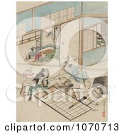 Royalty Free Historical Illustration Of Three Samurai Warriors Combating In A Building by JVPD