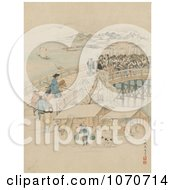 Royalty Free Historical Illustration Of Men Confronting Samurai Warriors On A Bridge
