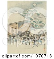 Royalty Free Historical Illustration Of Samurai Warriors Heading Towards A Building On A Winter Night