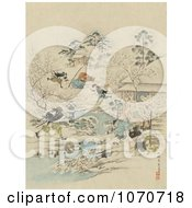 Royalty Free Historical Illustration Of Samurai Warriors Attacking A Community by JVPD