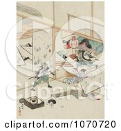 Two Samurai Men Wrecking The Interior Of A House During A Sword Fight