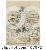 Royalty Free Historical Illustration Of Samurai Warriors Attacking Men In A Winter Village