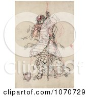 Royalty Free Historical Illustration Of A Wounded Samurai Warrior Drinking Sake From A Bowl by JVPD