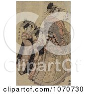 Royalty Free Historical Illustration Of The Asian Courtesian Somenosuke With Two Attendants