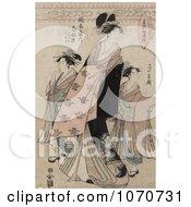 Royalty Free Historical Illustration Of The Courtesan Shinateru Of The Okamoto Ya