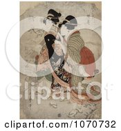 Royalty Free Historical Illustration Of The Asian Courtesan Michinoku With Attendant